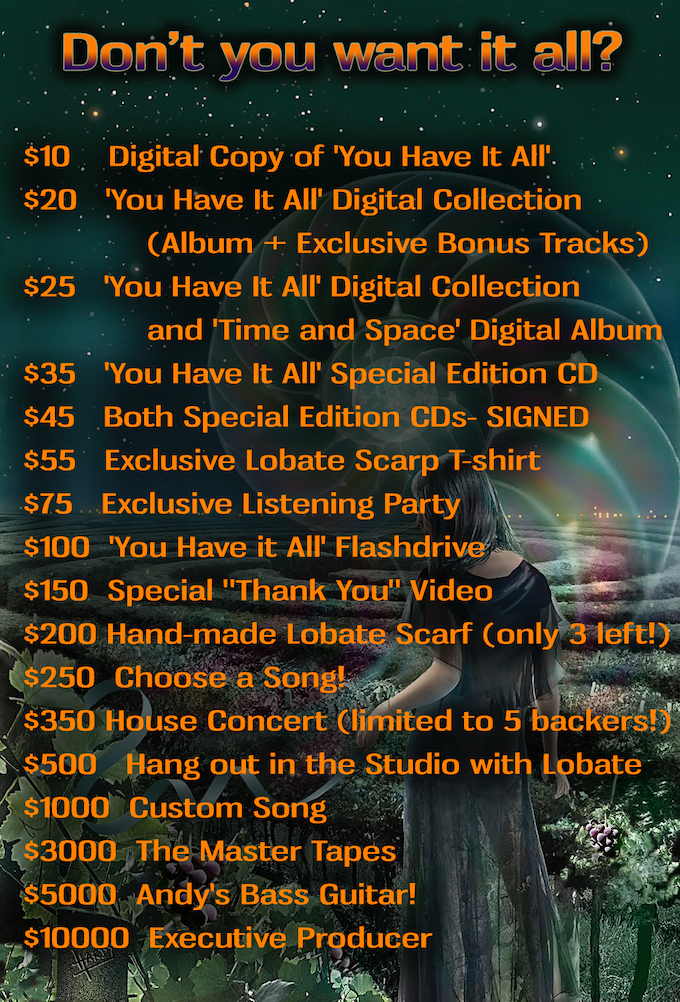 All pledge levels after $35 include 'You Have It All' Special Edition CD and Digital Collection and many come with rewards from preceding pledge levels. See REWARDS on the right for more information.