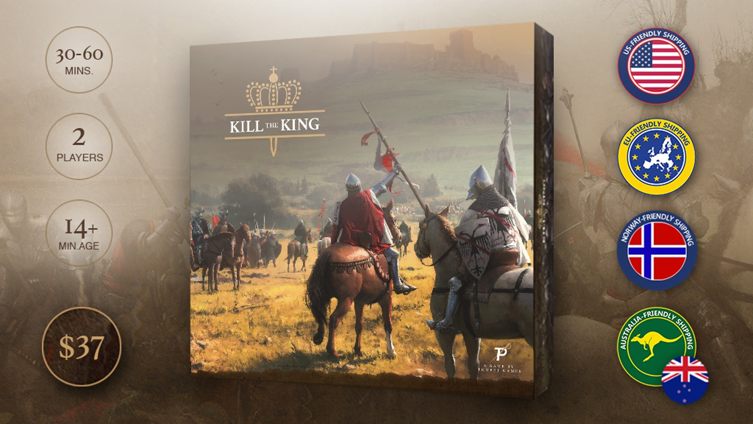 Kill the king is a strategic board game where two armies fight each other on the battlefield and on the castle walls.