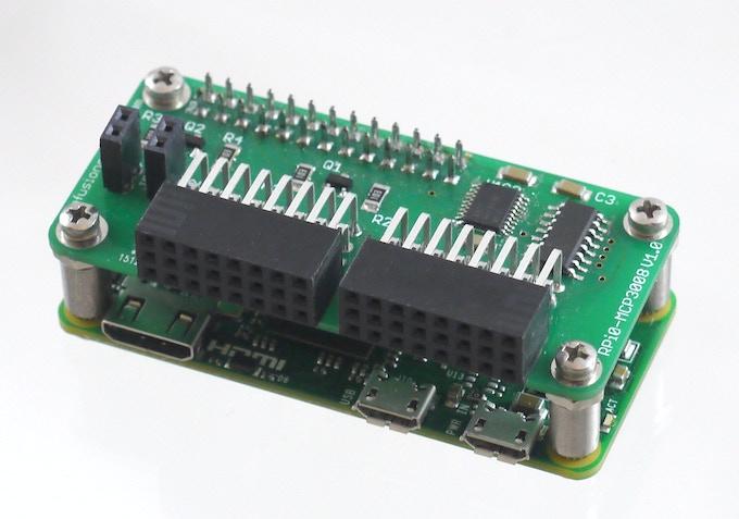 The PiShield Board connected to a Raspberry Pi Zero