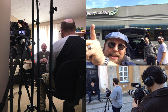 Filming with (clockwise, from left) Ian Horner, the Flying Saucer Crew, the Polygon crew.
