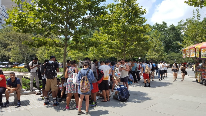 Pokémon Go players gather around Central Park, NYC