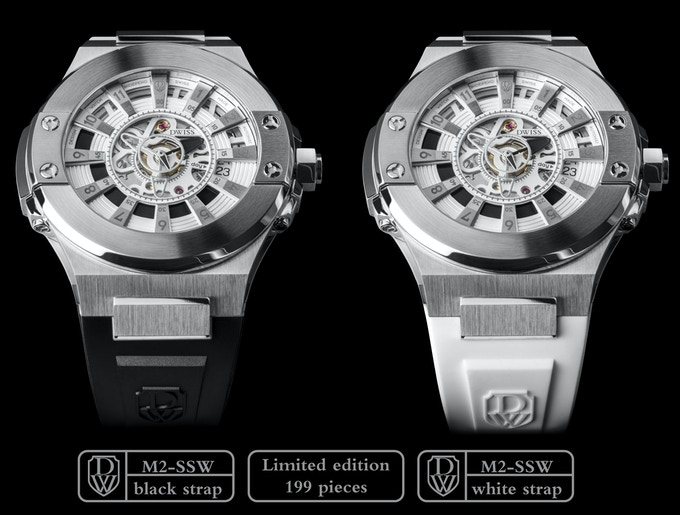 DWISS M2-SSW Stainless Steel with black accents.Black or white strap.