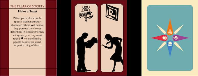 A Pillar move card, its token side, and an Excellence token.