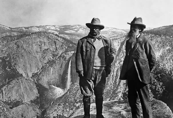 President Theodore Roosevelt and John Muir at Glacier Point, Yosemite