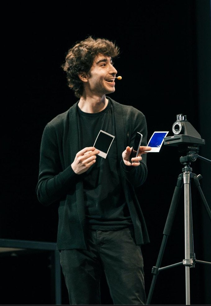 Oskar Smolokowski launching the I-1 Impossible instant camera in San Francisco in April 2016