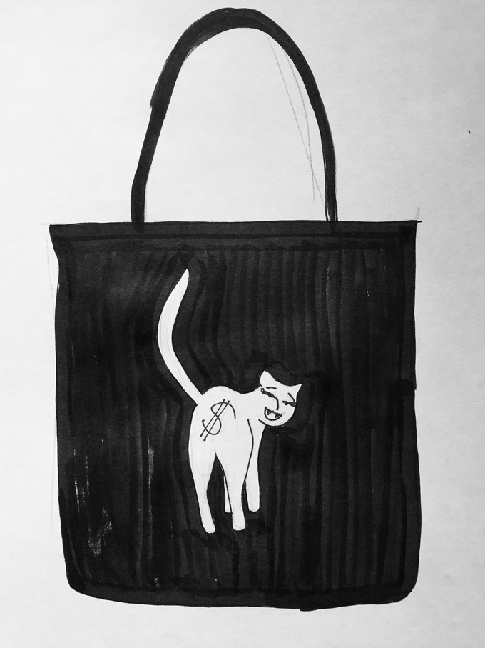 This is not the actual tote, it's actually a liquid eyeliner (great for crafting if you have more makeup than art supplies!)-and-paper rending of what the tote will look like once it's made