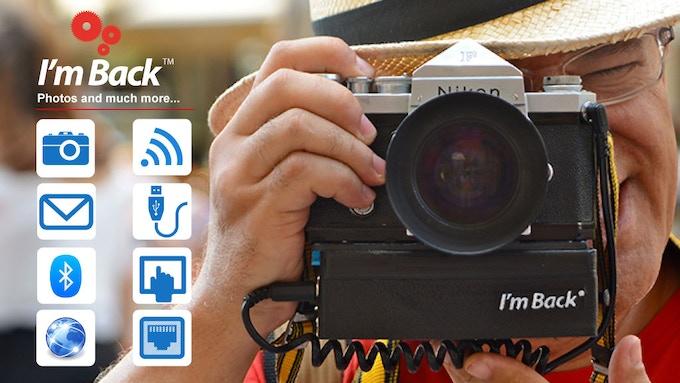 I'm Back™ case. Unique low cost  digital back for analog cameras.