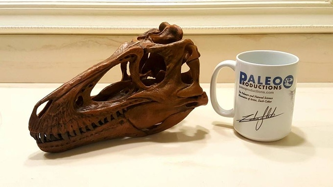 Prototype Skull with a Paleo Productions mug for scale