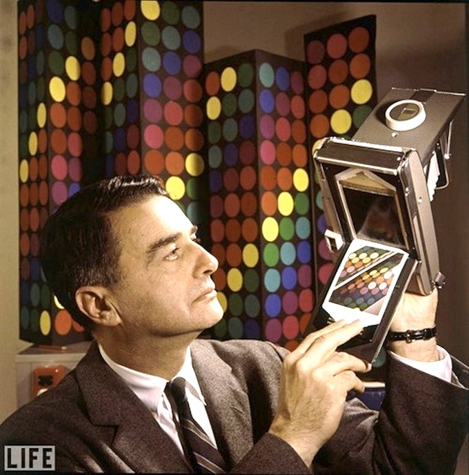 Edwin Land as he presents the first instant color film in 1963.