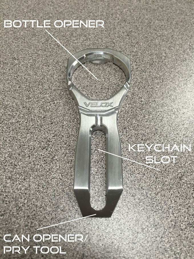 the velox bottle opener by ek precision kickstarter. Black Bedroom Furniture Sets. Home Design Ideas