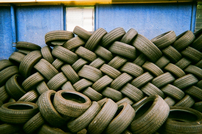 Tyre pile, north London by Mia Lyons. In 2016 MyLondon exhibition.