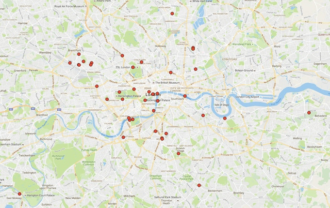 Map showing locations of reggae record covers that were photographed in London