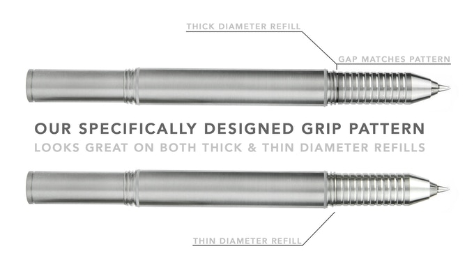 When a really thick diameter refill is inside the pen, there can be a very small visual gap (up to 0.8mm) between the body and grip. Our grip pattern strategically helps camouflage any gaps when using larger diameter refills inside.