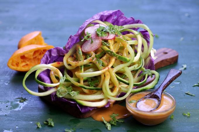 Zucchini Cucumber Salad with Orange Chili Dressing