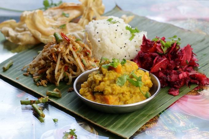 Banana Leaf Meal: sweet potato lentils, vegetable sprout salad, shredded beet coconut salad