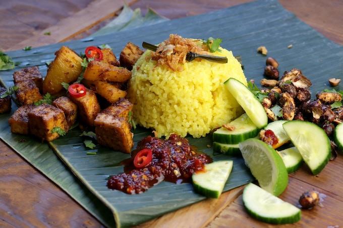 Nasi Lemak: creamy coconut pandan rice, lemongrass ginger tofu, spicy nuts