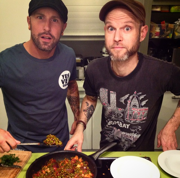 Filming a cooking video with Jon from The Vegan Zombie at Veganz Berlin