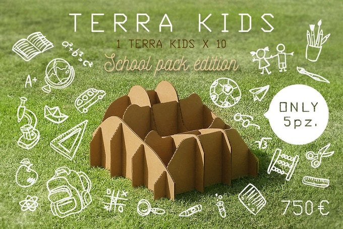TERRA!KIDS SCHOOL PACK EDITION is 10 pieces TERRA!KIDSscale 1:1 (dimensions in 23.7 x 23.7 x 14.8 / cm  60 x 60 x 37.5)
