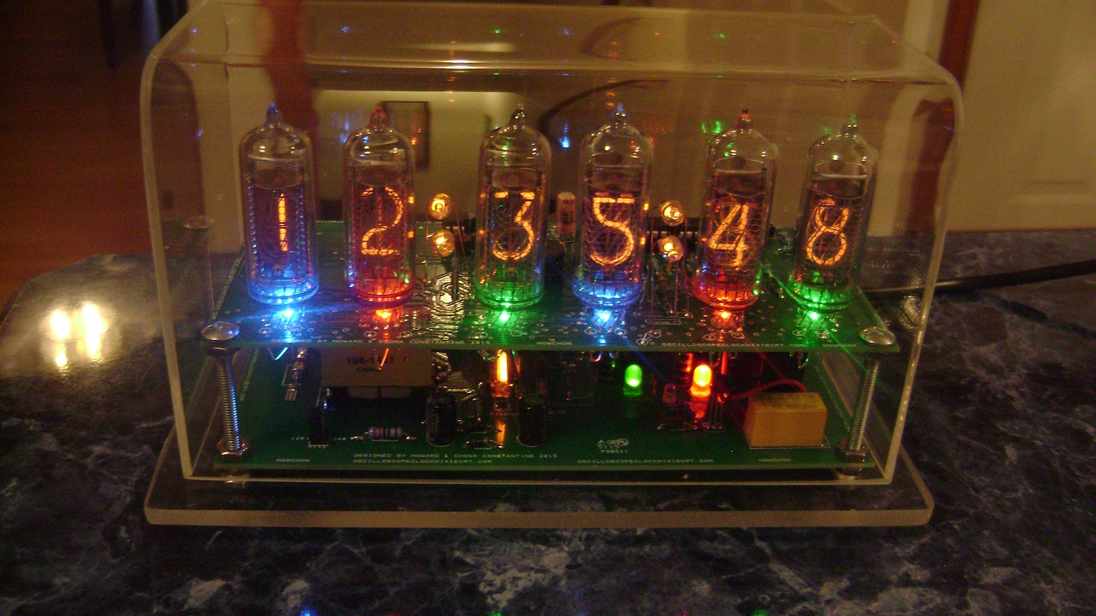 The Nixie Clock V with RGB leds & switching power supply by