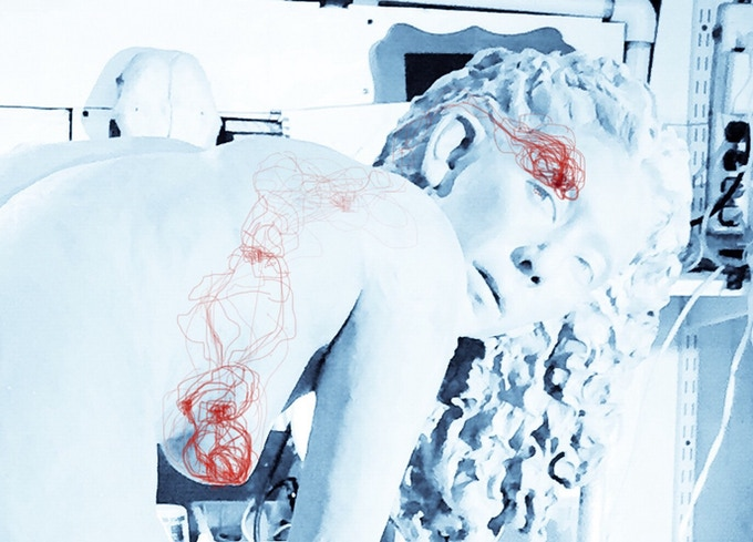 LIfe-Size Clay Figure with superimposed vascular system over photo.