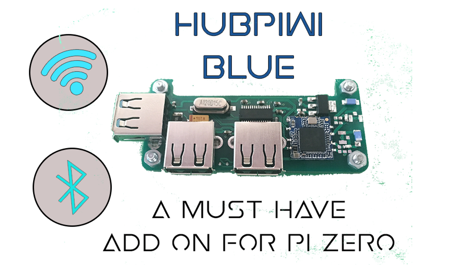 The HubPiWi Blue is a add-on to the Raspberry Pi Zero. It has 3 USB ports along with a WiFi and a Bluetooth.