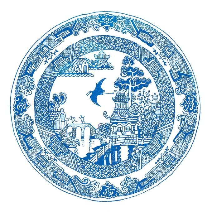 In 2011, I added a pterodactyl while drawing my Grandma's Blue-Willow plate. That's what got all the Calamityware projects started.