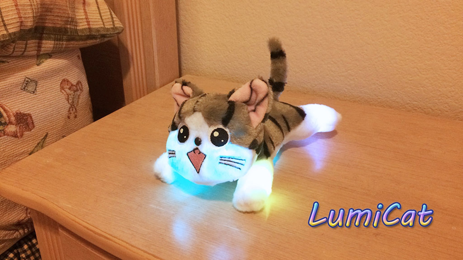 Led night light kickstarter - A Cute Plushie Cat With Smooth Color Changing Led Lights Activated By Motion And Light Sensors Perfect For Lighting Your Way At Night