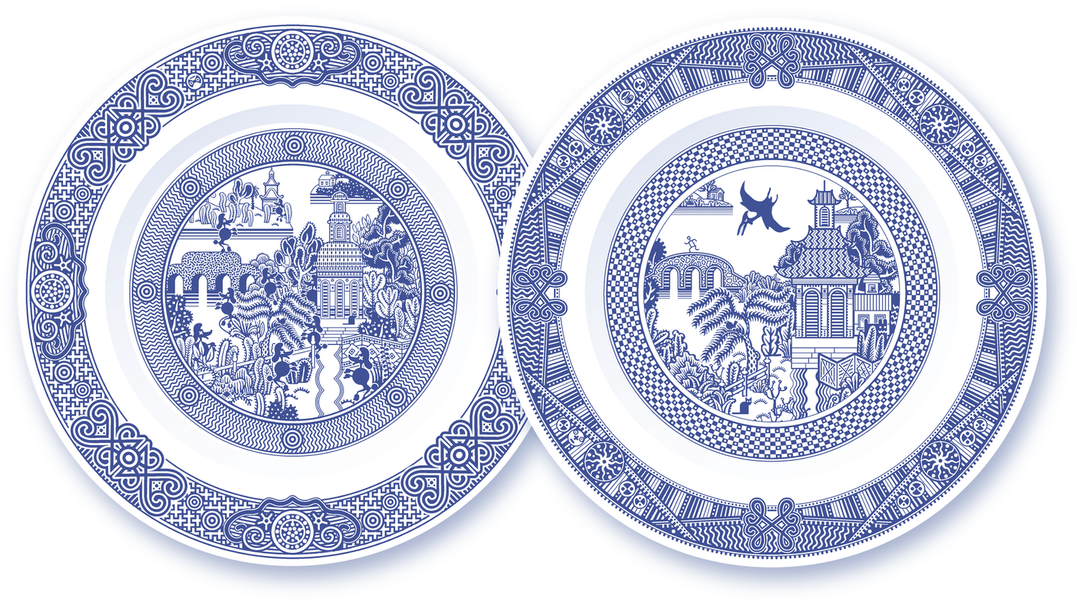 Zombie poodles and pterodactyl add unexpected excitement to traditional  porcelain dinner plates.