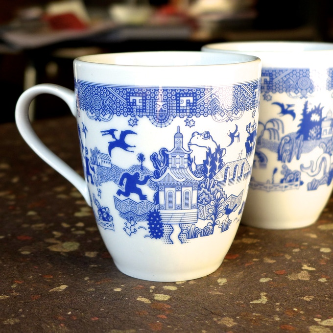 Both zombie poodles and pterodactyls appear on the Things-Could-Be-Worse mugs. So using your plates and mugs together will look amazing.
