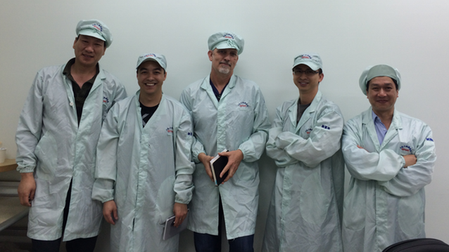The Pebble team visiting their manufacturer