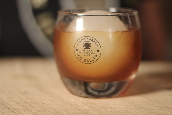 Our ice ball in our whiskey glass....a perfect combination.