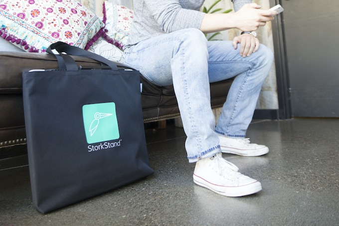 StorkStand is totally portable - It folds up in seconds and slides into our custom Tote Bag so you can take it with you anywhere.