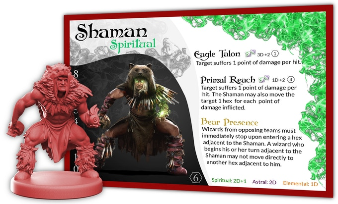 The Bear Presence ability of the Shaman is important to shield the more fragile wizards on your team.