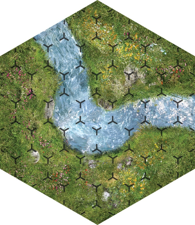 Any hex grid space that contains more than 50% water is part of the stream, which slows the wizards' movements.