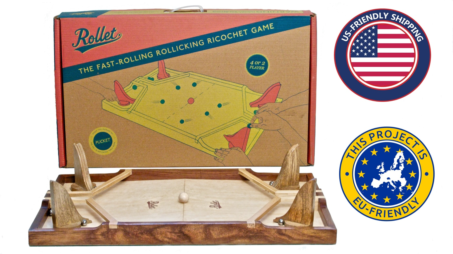 Rollet is a beautiful frantic wooden dexterity game. It's easy to learn, difficult to master, and keeps players whooping and giggling.