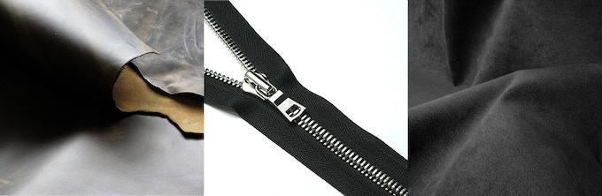 Premium full-grain leather, G2 US-made metal zipper, Ultrasuede(R)