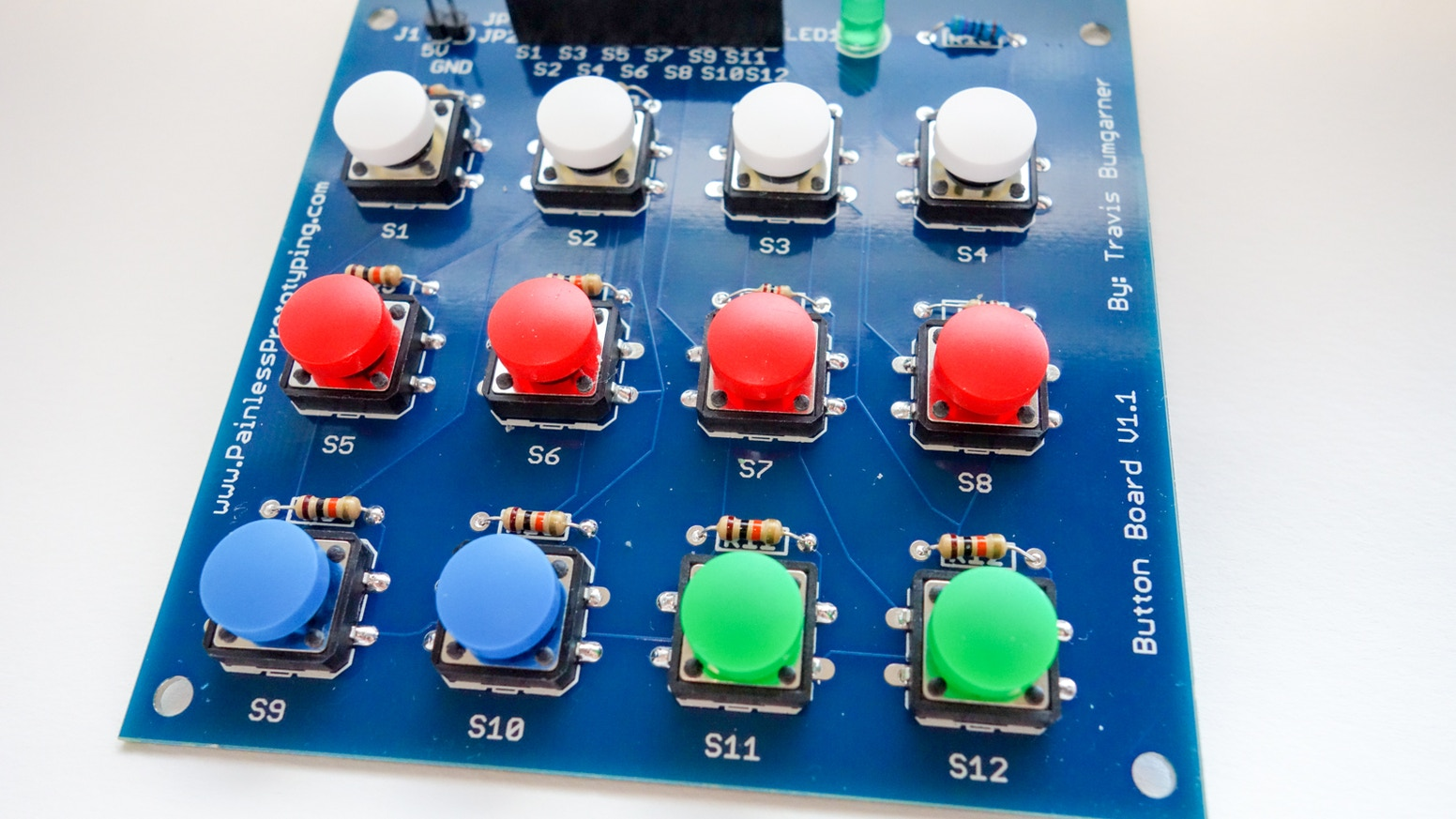 Button Board Prototyping Electronics The Painless Way By Travis Projects Makes Adding Push Buttons To A Breeze Eliminating Headaches And Useful Functionality