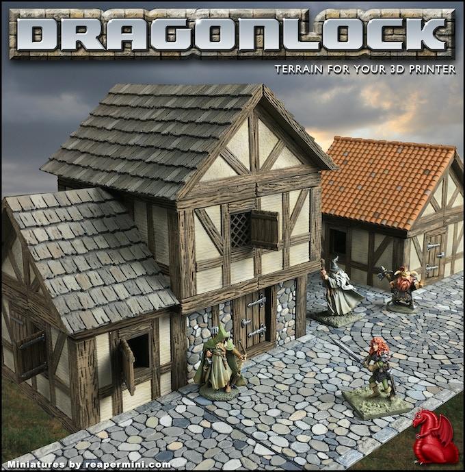 DRAGONLOCK 2: Fantasy Village Terrain For 3D Printers By