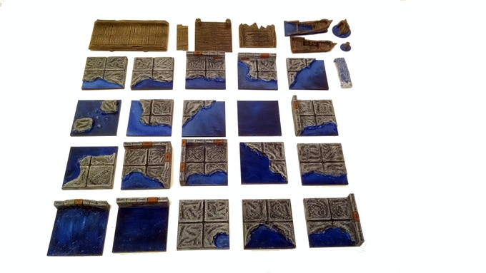 Here are a few of the water tiles printed and painted.