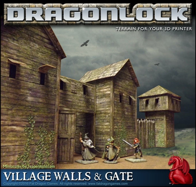 Cardboard mockup of the 'Village Walls and Gate' set (final design subject to change).