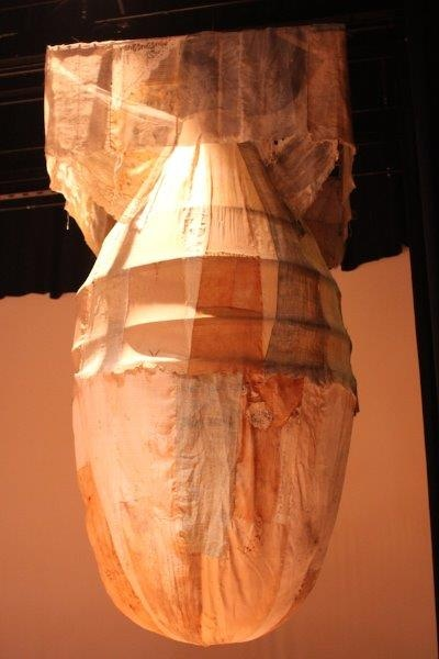 'Fat Man' life size sculpture of the Nagasaki bomb, made by our fellow artist and Hiroshima descendent Yukiyo Kawano from her grandmother's kimonos and her own hair.