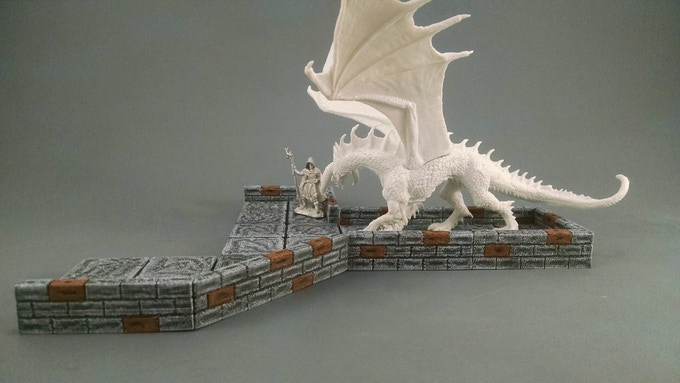Low walls mean you no longer have to stand to see the action.  It also means you can use those large miniatures that wouldn't fit with the 'other' dungeon tiles