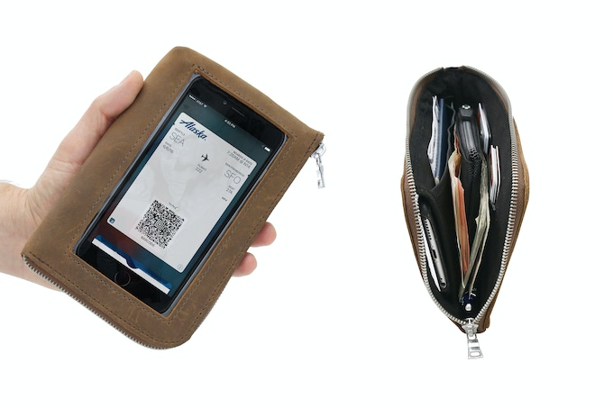 Play-through access to phone. Includes removable Micro Wallet.