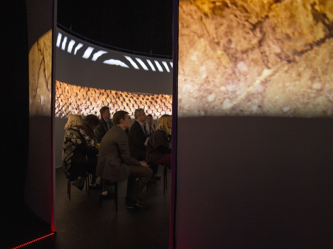 Audience interaction is an element of our immersive screenings. 'Ngurini' (which means 'Searching'). Photograph by Danni Marwick