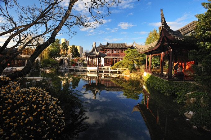 The Lan Su Chinese Garden, an historic museum and event space, occupies an entire city block.