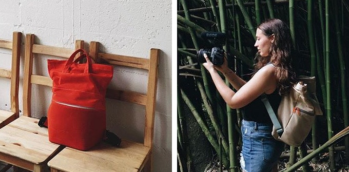 LEFT: An early prototype — RIGHT: Shooting with a test prototype while on assignment