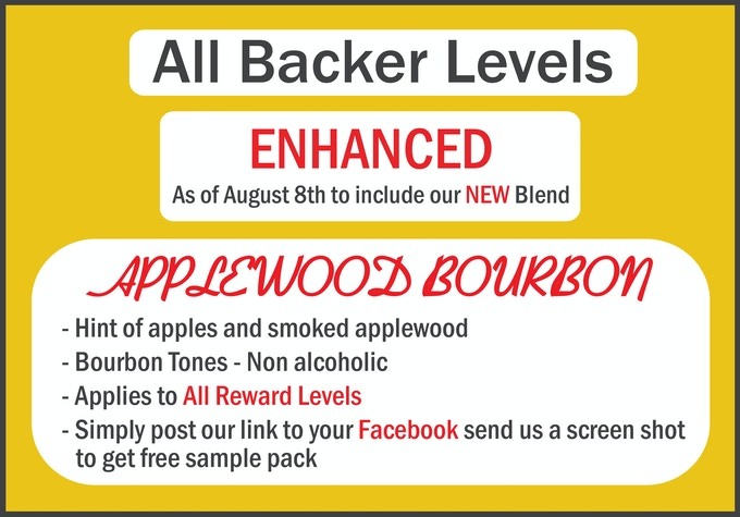Get a free upgrade to ALL levels - Simply post our link to your favorite social media site, send us a screen shot of the post to receive samples of our new Applewood Bourbon Blend.