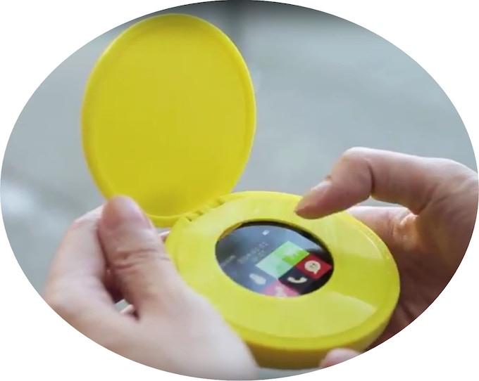 Cyrcle phone prototype in yellow