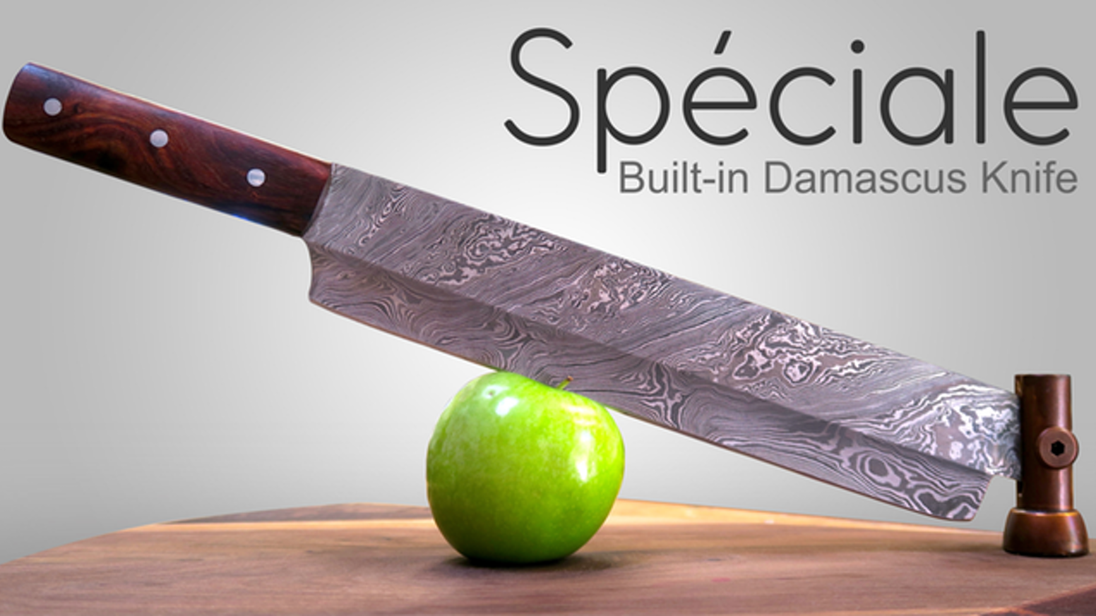 """Built-in 17"""" Damascus knife that spins around Walnut cutting board and makes cutting enjoyable."""