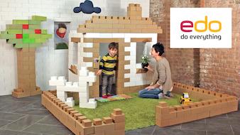 Edo – Life-sized cardboard bricks: giant fun for your kids.